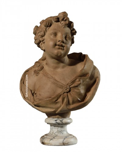 Terracotta bust representing an elegant - 18th Century