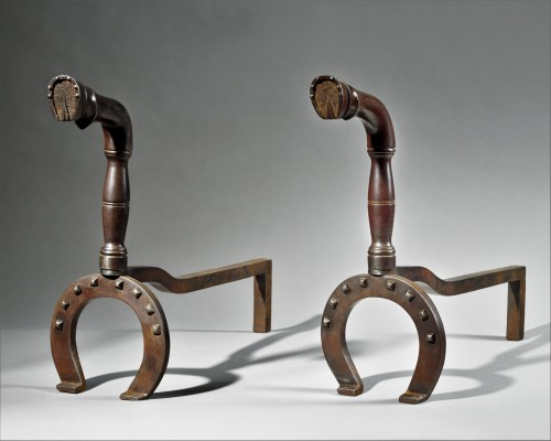 Wrought iron andirons representing horse legs - 1930/40 - Decorative Objects Style