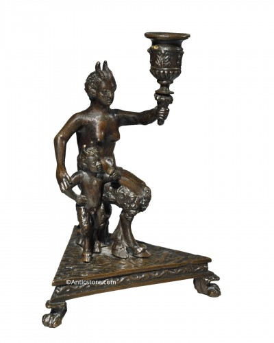 After Severo da Ravenna - Candlestick representing a satyress and her child