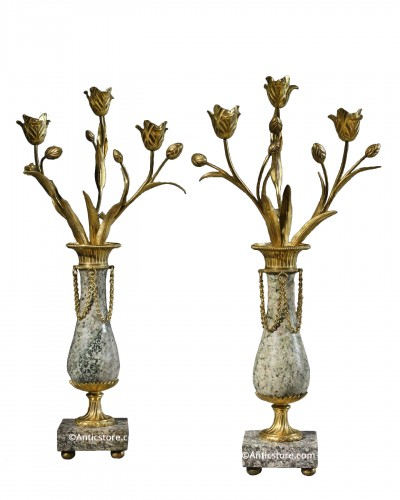 Pair of granite candelabras - 1st quarter of the 19th century