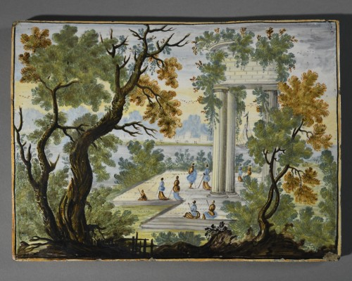 Majolica plate -  Castelli 18th century  - Porcelain & Faience Style