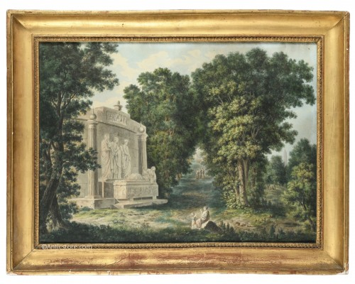 19th century  French school - landscape with a tomb
