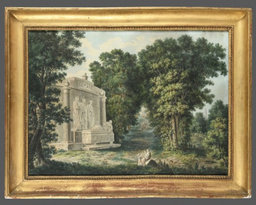 19th century  French school - landscape with a tomb  - Paintings & Drawings Style