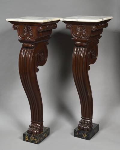 Pair of 19th century mahogany pedestal  - Attributed to Thomas Hope - Decorative Objects Style