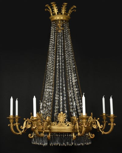 Gilt wood and crystal chandelier - Italy Circa 1830