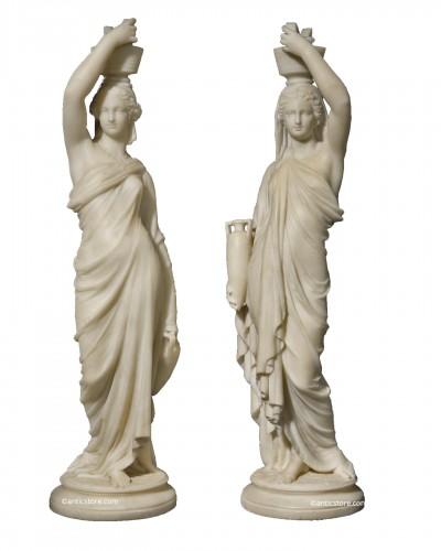 Louis Sauvageau (1822-1874) - Pair of marble vestals circa 1860