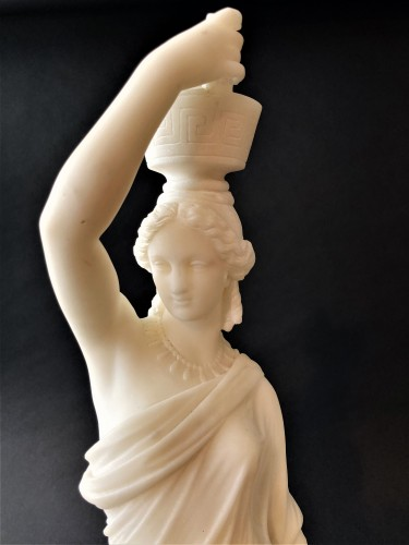 Louis Sauvageau (1822-1874) - Pair of marble vestals circa 1860 - Sculpture Style