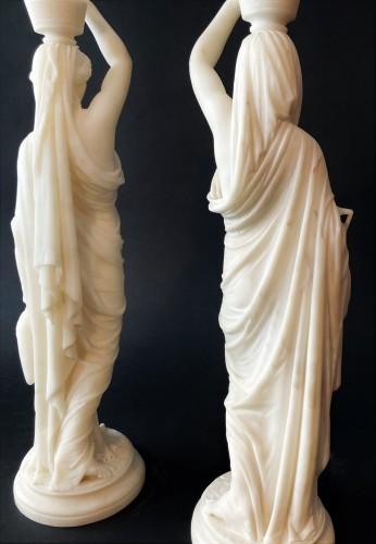 Louis Sauvageau (1822-1874) - Pair of marble vestals circa 1860 -