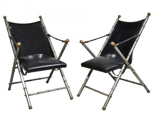 Maison Jansen - pair of folding armchairs - circa 1950