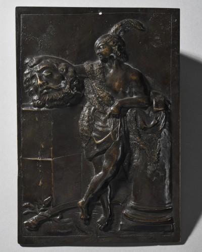 Italian school - bronze plaquette representing David holding the head of Go - Sculpture Style