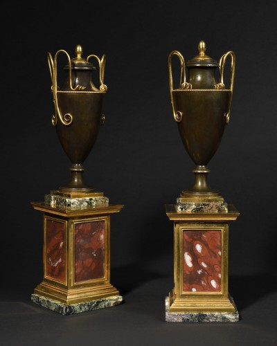 Pair of bronze covered vases - Empire period - Decorative Objects Style