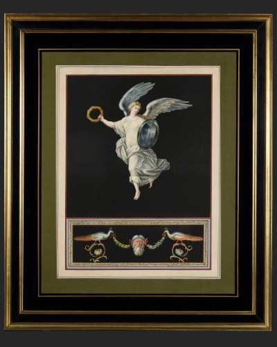 Pair of Pompeian allegories - Michelangelo Maestri - Paintings & Drawings Style Empire