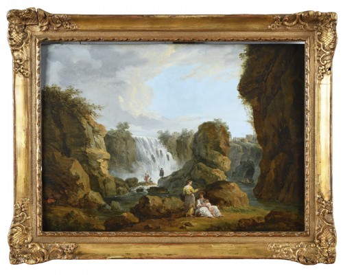 Landscape with a waterfall in the taste of Hubert Robert - end of the 18th