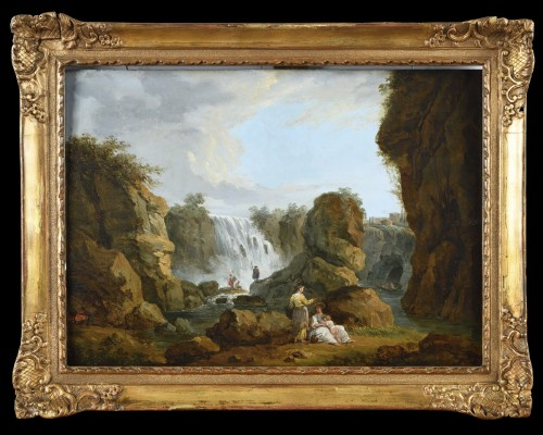 Landscape with a waterfall in the taste of Hubert Robert - end of the 18th  - Paintings & Drawings Style