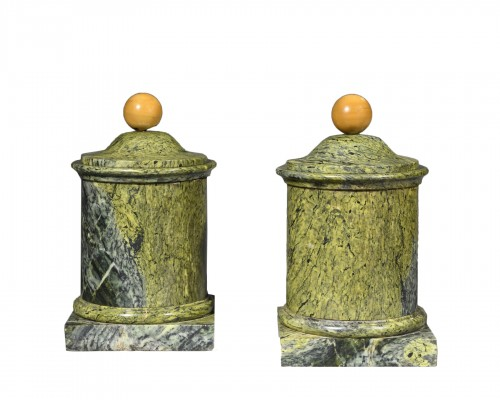 Pair of marble covered pots - 19th century