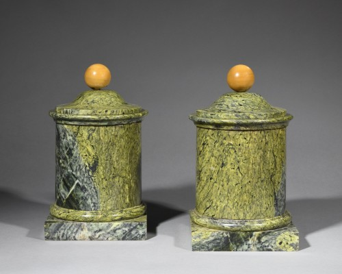 Pair of marble covered pots - 19th century  - Decorative Objects Style Napoléon III