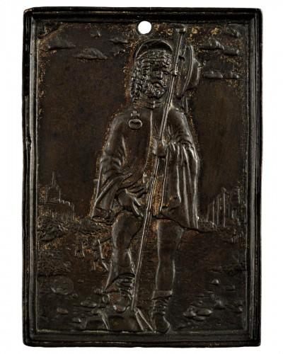 """Galeazzo Mondella known as """"Moderno"""" (1467-1528) - Saint Roch Bronze plaquette"""