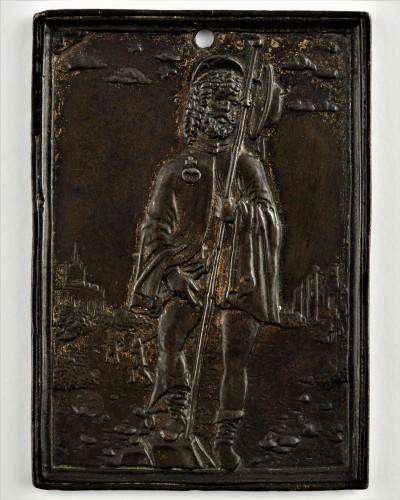 "Galeazzo Mondella known as ""Moderno"" (1467-1528) - Saint Roch Bronze plaquette - Religious Antiques Style"