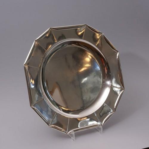 Art Déco - Jean Emile Puiforcat -  large Art Deco Silver Platter circa 1925
