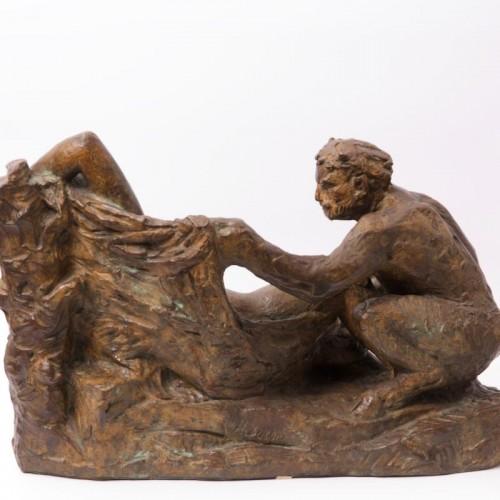Faun awakening a Nymph - Hermann Hubacher (1885 - 1976) - Sculpture Style 50
