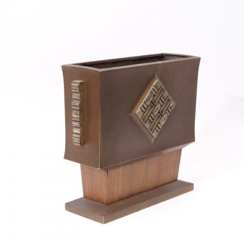 Art-déco Bronze and Wood Vase - Paul Bonifas -