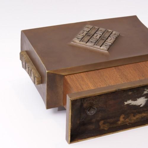 Art Déco - Art-déco Bronze and Wood Vase - Paul Bonifas