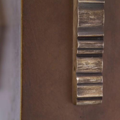 Antiquités - Art-déco Bronze and Wood Vase - Paul Bonifas