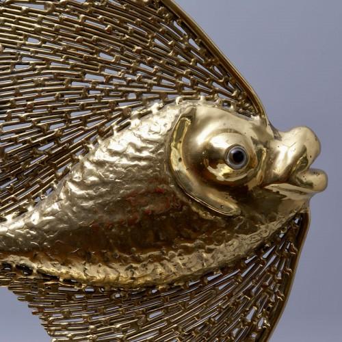 Lighting  - Unique Jacques Duval Brasseur Brass Fish Lamp