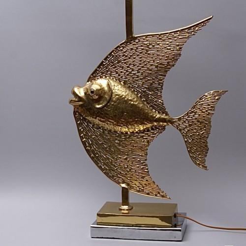 20th century - Unique Jacques Duval Brasseur Brass Fish Lamp