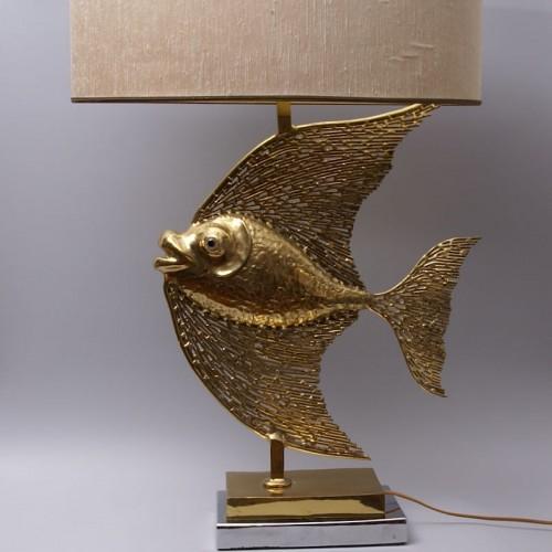 Antiquités - Unique Jacques Duval Brasseur Brass Fish Lamp