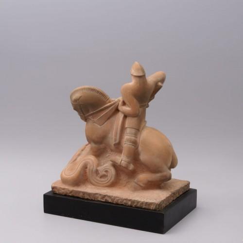 Saint Georges slaying the Dragon- Henri Pâquet (1898-1975) - Sculpture Style Art Déco