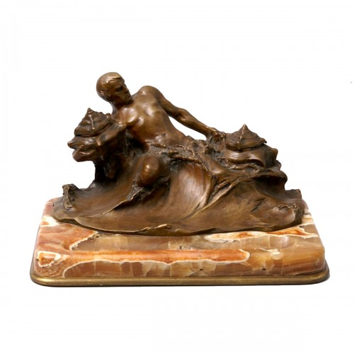 """""""Poseidon"""" Bronze and Marble Inkwell by Hans Müller"""