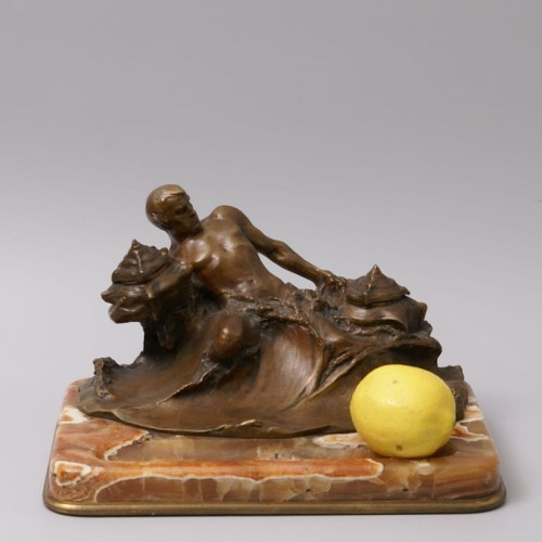 """""""Poseidon"""" Bronze and Marble Inkwell by Hans Müller - Decorative Objects Style Art nouveau"""