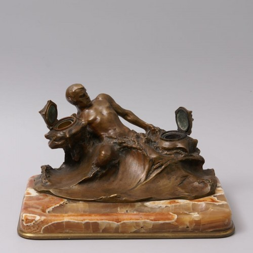 """Decorative Objects  - """"Poseidon"""" Bronze and Marble Inkwell by Hans Müller"""