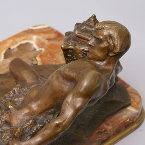 """20th century - """"Poseidon"""" Bronze and Marble Inkwell by Hans Müller"""