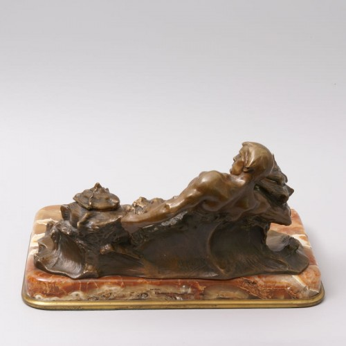 """""""Poseidon"""" Bronze and Marble Inkwell by Hans Müller - Art nouveau"""