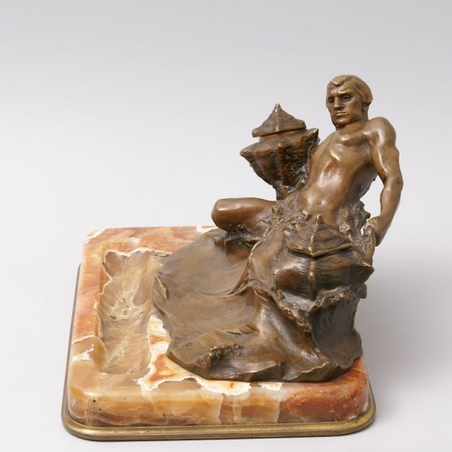 """Art nouveau - """"Poseidon"""" Bronze and Marble Inkwell by Hans Müller"""