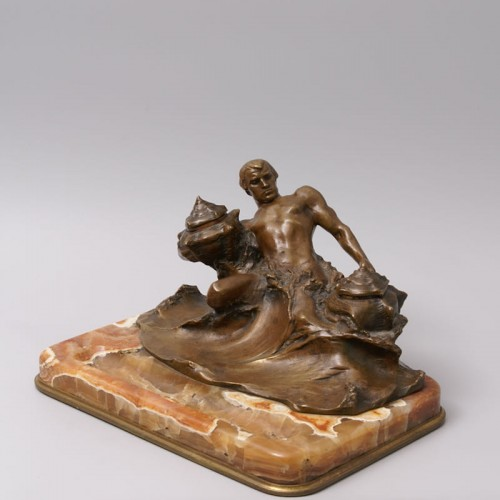"""Antiquités - """"Poseidon"""" Bronze and Marble Inkwell by Hans Müller"""