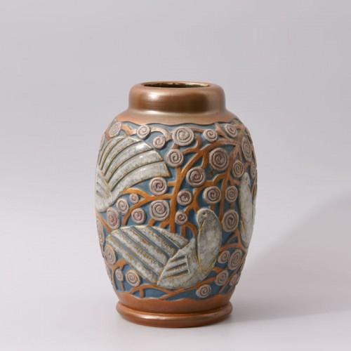 Art deco Sandstone Vase by Mougin Frères design Géo Condé - Porcelain & Faience Style Art Déco