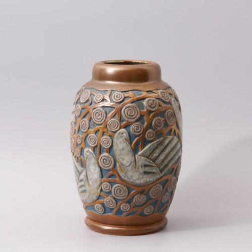 Porcelain & Faience  - Art deco Sandstone Vase by Mougin Frères design Géo Condé