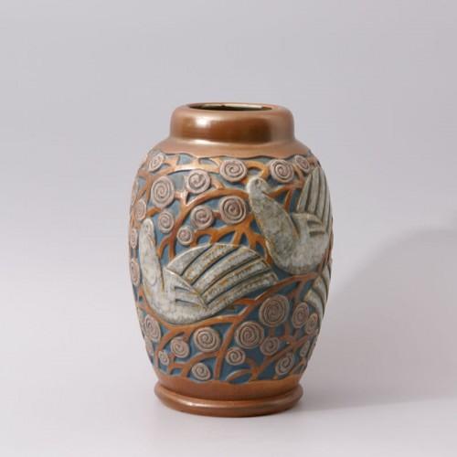 Art deco Sandstone Vase by Mougin Frères design Géo Condé -