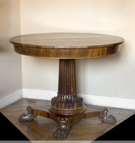 Masonic pedestal table in rosewood, Restoration period -
