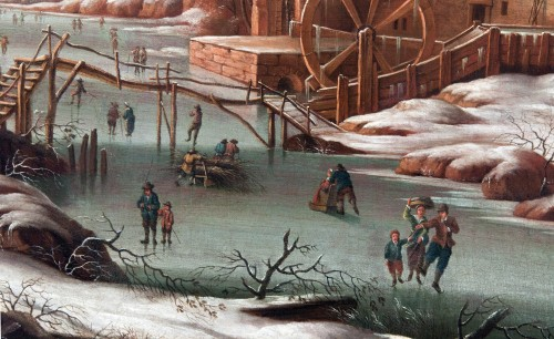 Paysage d'hiver avec patineurs - Attribué à Oswald Harms - Galerie Laury-Bailly