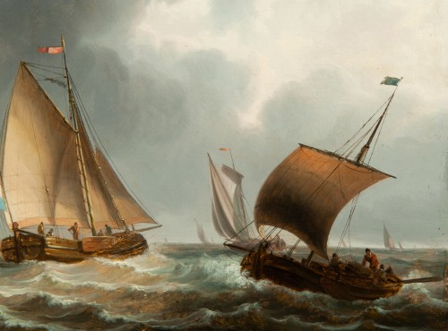 Dutch ships off the coast - 17th century Dutch school - Paintings & Drawings Style Louis XIV