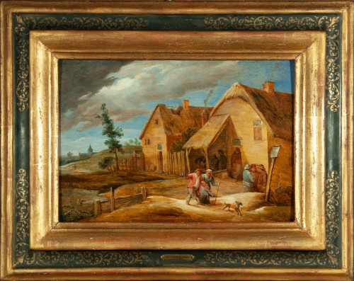In front of the inn - Flemish school of the 17th century, attributed to David Teniers the younger