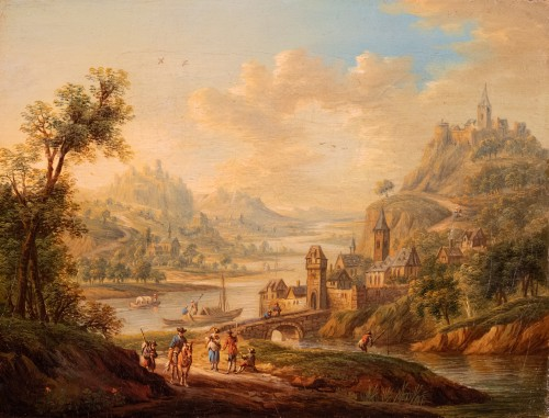 Village in the Rhine Valley - Frans Hochecker (1730-1782) - Paintings & Drawings Style Louis XV