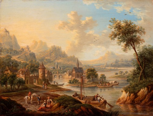 Church in the middle of an island on the Rhine - Frans Hochecker (1730-1782) - Paintings & Drawings Style Louis XV