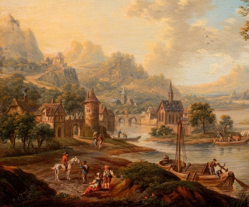 Paintings & Drawings  - Church in the middle of an island on the Rhine - Frans Hochecker (1730-1782)