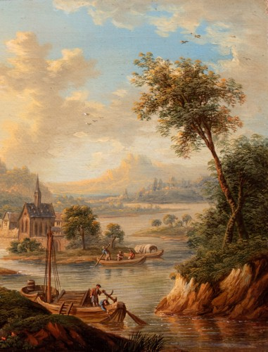Church in the middle of an island on the Rhine - Frans Hochecker (1730-1782) -