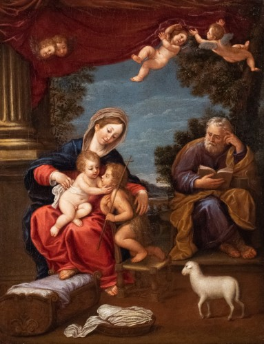 The Holy Family and Saint John the Baptist, 17th century Bolognese school - Paintings & Drawings Style Louis XIV